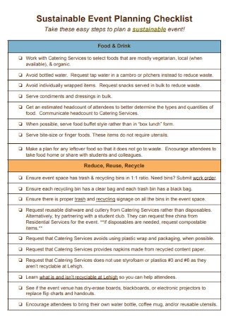 Sustainable Event Planning Checklist