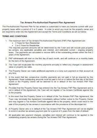 Tax Arrears Pre Authorized Payment Plan Agreement