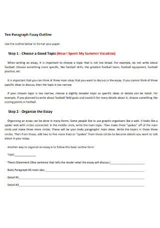 Ten Paragraph Essay Outline