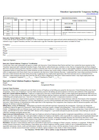 Timesheet Agreement for Temporary Staffing Template