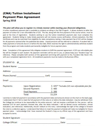 Tuition Installment Payment Plan Agreement