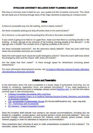 University Inclusive Event Planning Checklist