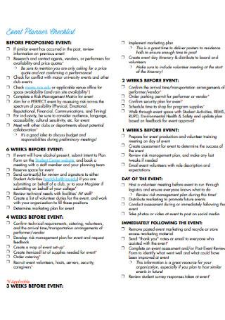 University Student Event Planning Checklist