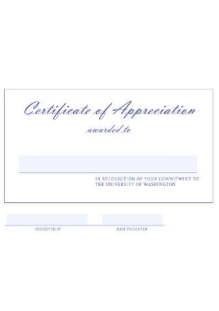 Univesity Certificate of Appreciation Template