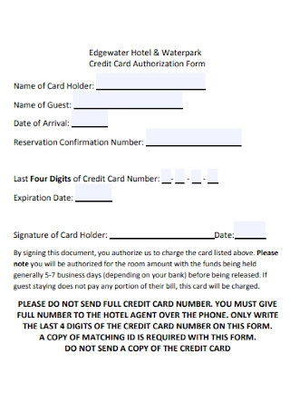 Waterpark Credit Card Authorization Form
