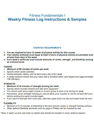 Weekly Fitness Log Template