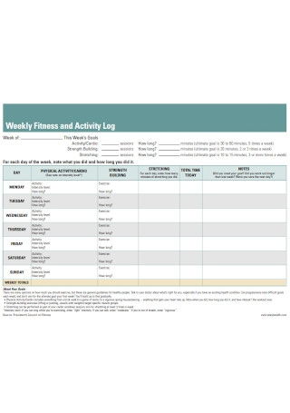 Weekly Fitness and Activity Log