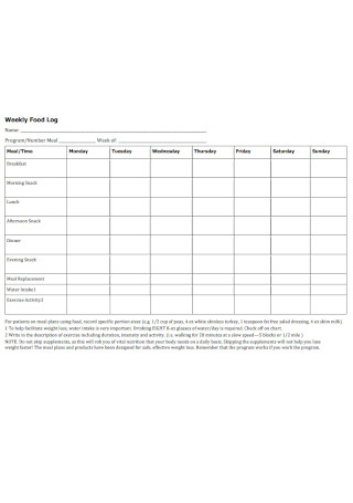 Weekly Food Log Template