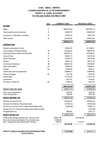 Year End Profit and Loss Statement