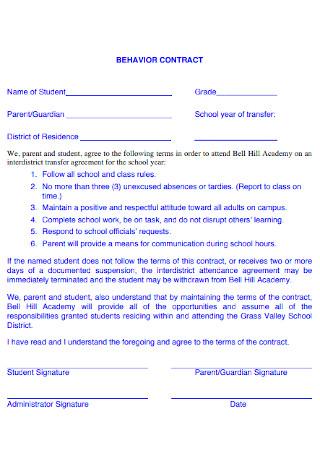Academic Behavior Contract