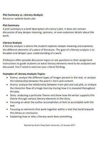 Academic Literary Analysis Template