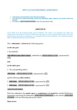 Addendum Access Publishing Agreement