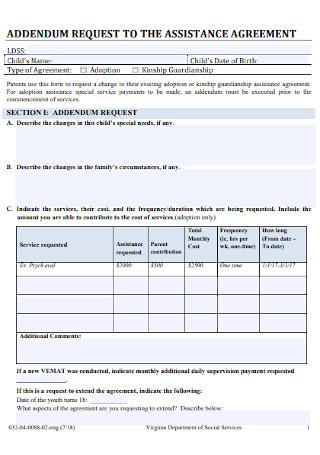Addendum Assistance Agreement