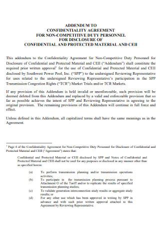 Addendum Confidentiality Agreement