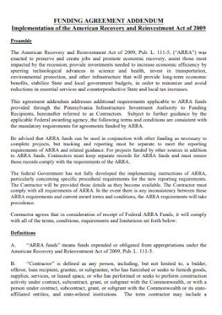 Addendum Funding Agreement