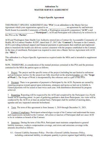Addendum Master Service Agreement