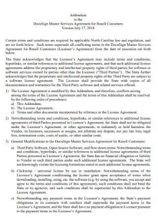 Addendum Master Services Agreement