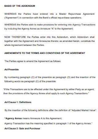 Addendum Repurchase Agreement