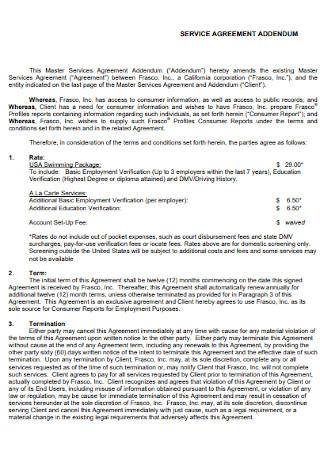 Addendum Service Agreement Template