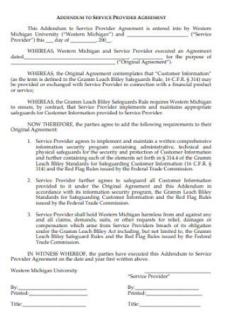 Addendum Service Provider Agreement