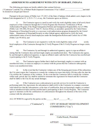 Addendum to Agreement for City