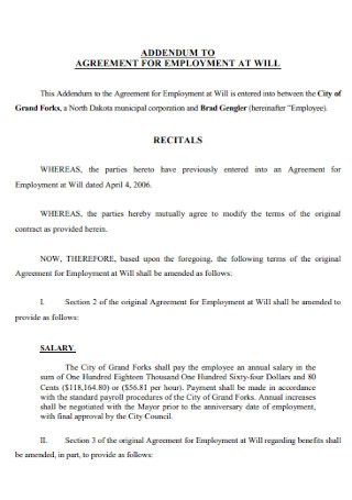 Addendum to Agreement for Employment