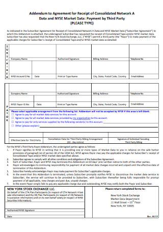 Addendum to Agreement for Receipt