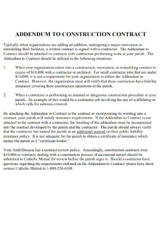 Addendum to Construction Contract