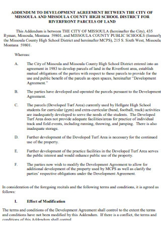 Addendum to Development Agreement Template