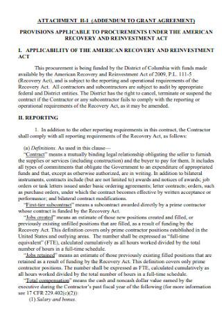 Addendum to Grant Agreement