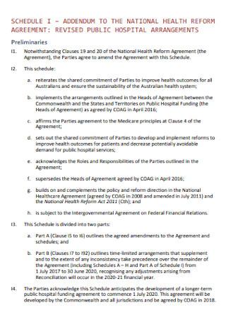 Addendum to Health Reform Agreement