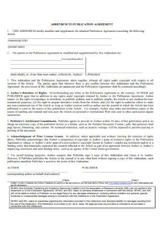 Addendum to Publication Agreement