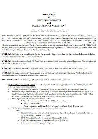 Addendum to Service Agreement