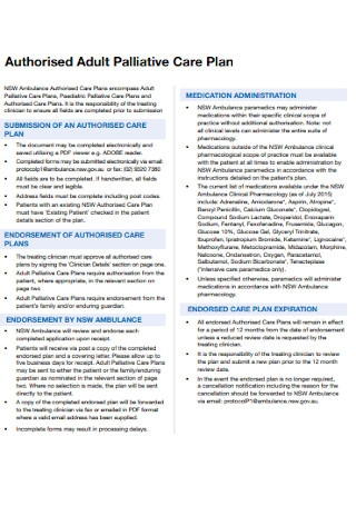 Adult Palliative Care Plan