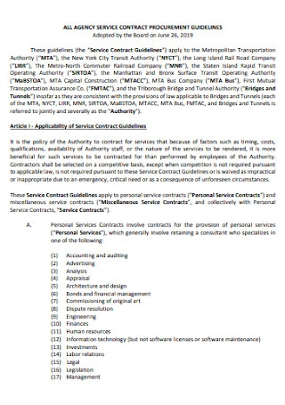 Agency Service Contract Template