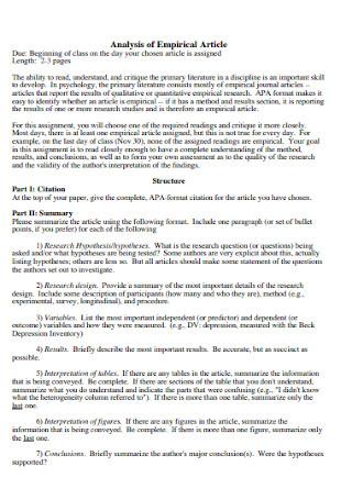 Analysis of Empirical Article
