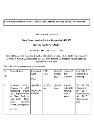 Annual Contract for Catering Services