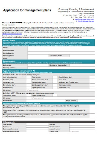 Application for Management Plan Template