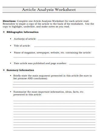 Article Analysis Worksheet