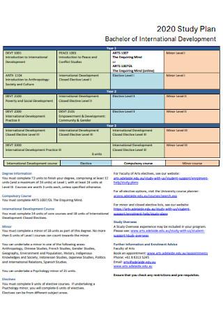 Bachelor Study Plan Template