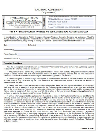 Bail Bond Agreement Template