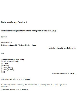 Balance Group Contract