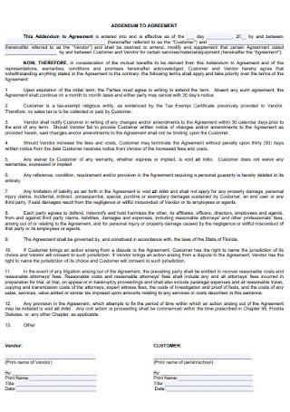 Basic Addendum Agreement Template