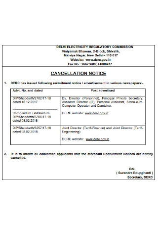 Basic Cancellation of Notice Template