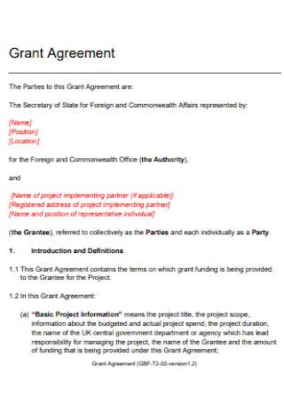 Basic Grant Agreement Template