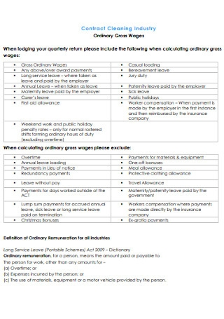 Basic Industry Cleaning Contract
