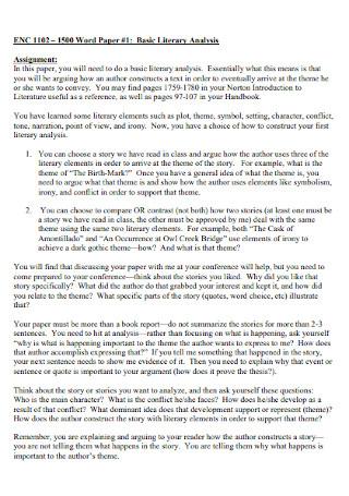 Basic Literary Analysis Example