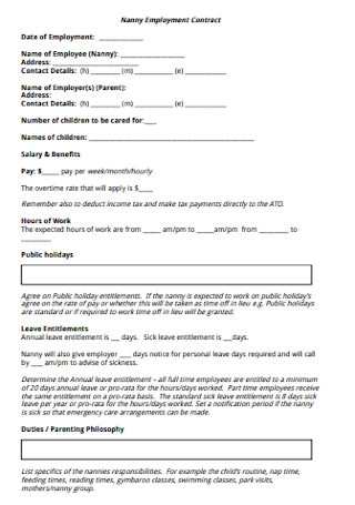 Basic Nanny Employment Contract