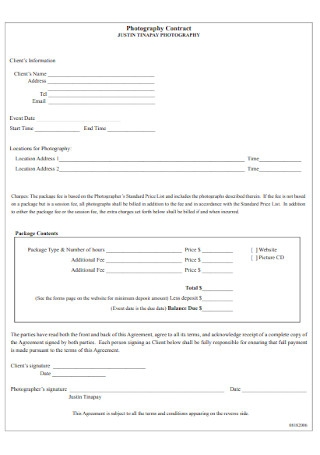 Basic Photography Contract Template
