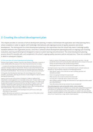 Basic School Development Plan Template